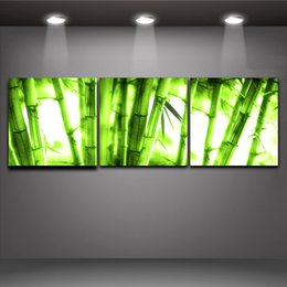 3 Pieces Chinese Bamboo Picture Printed On Canvas Modern Mural Art For Home Living Room Office Wall Decor