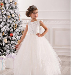 Beautiful Princess Simple Gown NZ - Beautiful Simple Jewel Beaded Ball Gown Baby Girl Birthday Party Christmas Princess Dresses Children Girl Party Dresses Flower Girl Dresses