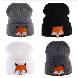 Barato Raposa Animal Beanies-Fox Knitted Hats Animal Cartoon Beanie Baby Wool Skull Caps Inverno Knit Slouchy Crochet Chapéus Moda Outdoor Oversized Hat Headwear B3556