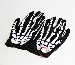 Wholesale-Free Shipping Unisex Halloween Scary Skull Gloves Punk Party Skull Skeleton Party on Sale
