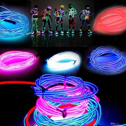 Costumes De Danse Néon Pas Cher-3MLed Flexible néon Light Glow EL Câble métallique Tube Flexible Neon Light 8 Couleurs Voiture Dance Party Costume + Contrôleur Holiday Decor Lumière 10