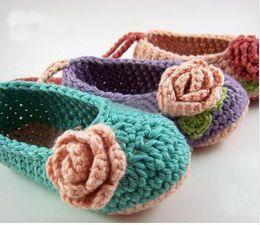 75f2e97b144d crochet baby booties wholesale 2019 - Crochet baby flower ballet shoes  handmade infant booties Baby Crib