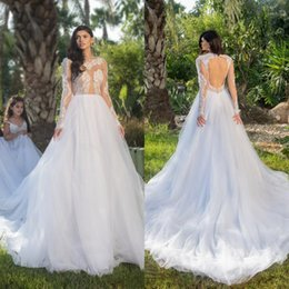 Barato Vestidos De Noiva De Manga Comprida On-line-Elegant Long Sleeves Wedding Dresses Illusion Top Jewel Neck Vestidos de casamento Sexy Backless Bridal Dresses 2018 Online Sale