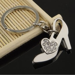 Alloy Shoes NZ - wholesale Ms high-heeled shoes key chain set auger key chain high-level creative gifts alloy key ring