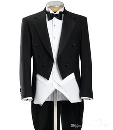 $enCountryForm.capitalKeyWord Canada - Long Tail Herringbone Frock Notch Lapel Solid Black Formal Affordable Essential Online 3 Piece Tuxedo(Jacket+Pants+Bow Tie+Vest)
