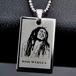 $enCountryForm.capitalKeyWord UK - 12PCS Cool Reggae Bob Marley Pendant Stainless Steel Dog Tag Chain Necklace Gift MN283