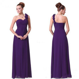China Generous Dress Long Purple Bridesmaid Dresses A-line One Shoulder Wedding Ceremony Dress Gowns Flowers Chiffon Eggplant Bridesmaid Dresses cheap junior bridesmaid dresses red one shoulder suppliers