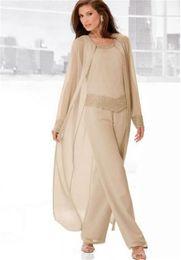 新郎ブライダルマザースーツシャンパンシフォン母親のフォーマル夏の長袖ジャケットプラスサイズスクープビーズクリスタルパンツ