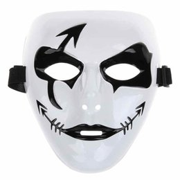 white masquerade masks UK - Fashion Halloween Mardi Gras Mask White Hip Hop Street Dancing Full Face Venetian Mens Masked Ball Masks Festive Masquerade Party Supplies