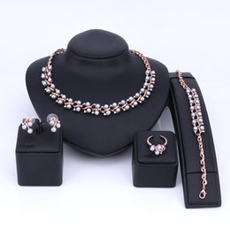 $enCountryForm.capitalKeyWord UK - Fashion Bib Collar Pendant Luxury Choker Simulated pearl Crystal Necklace Earring Bracelet Ring Statement Jewelry Set