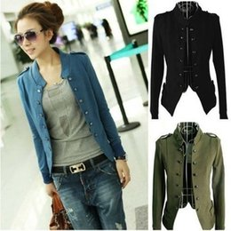 Debout Collant Manteaux Femmes Pas Cher-Livraison gratuite Hot Sell New 2015 Fashion Women Jacket Epaulet Long Sleeve Stand-up Collier Double Breasted Coat