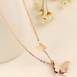 Pendent Plate NZ - titanium stainless steel High Quality Gift Jewelry Gold Plated Butterfly Pendent Necklace for Women Chain Necklaces & Pendants