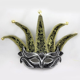 bell costume women 2019 - 5 Horns Venice Half Face Mask Fashion Bells Decor Performance Mask Masquerade Party Cosplay Costume Accessories Christma