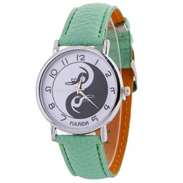 Cat design watChes online shopping - Black and White cat gossip design women leather watch fashion casual ladies dress quartz party wrist watches for women