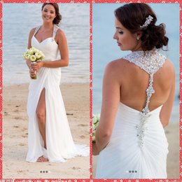 Barato Organza Drapeada-Surplice Bodice Sweetheart Halter Beaded Crystal Shinning Mermaid Vestidos de casamento Slim Draped Sweep Train Beach Bridal Gowns 2015