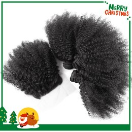 Discount 7a hair bundles closure - 7A Afro kinky Curly Virgin Hair lace closure free part with 3 Bundles Kinky Curly Human Hair Weave 4pieces lot huaman ha