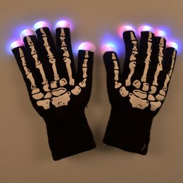 Fantômes Gros Pas Cher-Luminous LED Ghost Skull Rave Gants légers Finger Lighting Glow Glows Gloves Squelette humain pour Hallowmas Christmas Party Clubs