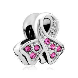 Vente en gros vente chaude coloré 1-10 MOIS naissance pierre de sensibilisation du cancer du ruban des femmes en plaqué rhodium perle charme européen Fit pour Bracelet Pandora