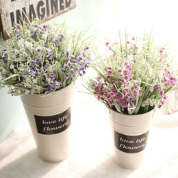 Artificial Small Grass NZ - 2pcs lot Artificial Frosted Baby's breath small bell grass flower garden wedding decoration Home Furnishing Free Shipping