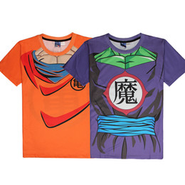 Costumes De Dragon Ball Cosplay Pas Cher-Anime Dragon Ball Z Cosplay Super Saiyan Son Goku Piccolo 3D T-Shirt Hommes Costume Sport Gym Fitness T-shirts manches courtes Tops Jersey