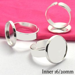 Bezel Setting Diy Canada - 50X New Arrival 2014 Fashion DIY Silver Plated White Ring Blank Base W Bezel Setting Tray for 16 20mm Cabochons