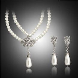 $enCountryForm.capitalKeyWord Australia - Crystal Pearl Pendant Earring Necklace Set Bridal Wedding jewelry Set Crystal Waterdrop Stud Earrings Pearl Necklaces for Women