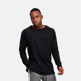 oversized long t shirts UK - new pure color long sleeve t-shirts men high street wear soldier length new fashion hip hop t shirt oversized
