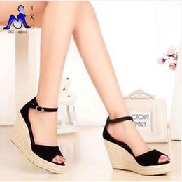 $enCountryForm.capitalKeyWord Canada - Women sandals Shoes 2016 Ladies High Heel Sandals,Summer Women's Open Toe Button Straw Braid Wedges Platform Beach Sandals women