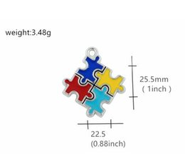 $enCountryForm.capitalKeyWord NZ - Free Shipping Silver Plated Enamel pin Autism Pendant jewelry making Puzzle Piece Jigsaw Wholesale Jewelry Mix tibetan charms