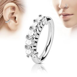16g jewelry online shopping - 1PC G Steel Segment Hinged Rings with Crystal Piercing Nariz Septum Clicker Labret Rings Nose Earrings Piercings Body Jewelry