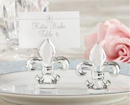 $enCountryForm.capitalKeyWord NZ - 100PCS LOT Fleur de Lis silver Place Card Photo Holder wedding photo frame New Arrival 1203#03