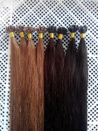keratin bonded indian hair extensions Canada - 100g 18inch - 24inch 1g #2 and #8 Keratin Prebonded Nail U tip Hair Extensions Silk Straight INDIAN Remy Pre bonded Hair