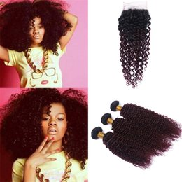 $enCountryForm.capitalKeyWord Australia - 8A Grade #99j Wine Red Kinkys Curly Hair Bundles with Lace Closure Dark Roots Burgundy Ombre Curly Human Hair Weaves with Top Closure