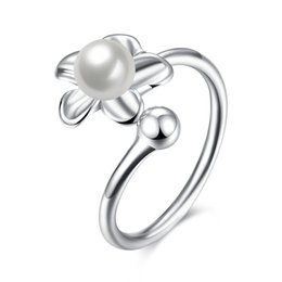 Korean Japanese 925 Sterling Silver Pearl Flower Open Ring Wedding Engagement Party Anniversary Christmas Valentine Gifts Ladies Girls Women