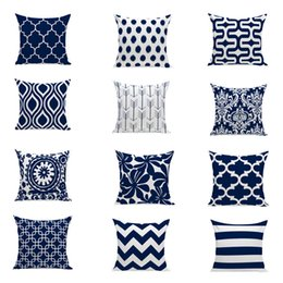 12 kinds geometric navy blue pillow case 4545cm throw pillow covers cotton linen sofa decorative square pillow cushion cases 18 x 18 inch