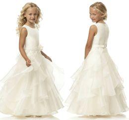 12 13 girls dresses sale 2019 - Hot Sale A Line Scoop Ivory Organza Belt Flower Girl Dresses Floor Length Flower Belt Flower Girl Dresses For Wedding HY