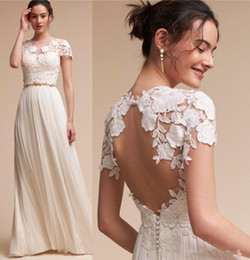 wedding dress lace sleeve dropped waist Canada - 2018 Newly Arrival Summer Lace Sheath A Line Wedding Dresses Cap Sleeves Key Hole Backless Empire Waist Beach Floor Length Boho Bridal Gowns