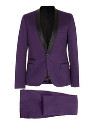 Barato Casaco De Casamento Homem Casaco-Top Hot Purple Men New Wedding Groom Tuxedos Dinner Pop Suit Tuxedo Jacket Blazer Coat Pant Pantalabra