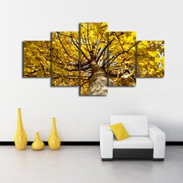 China 5 Panels Attractive Golden Ginkgo Tree Canvas Printing Modern Wall Art for Home Living Room Decor supplier golden tree oil painting suppliers