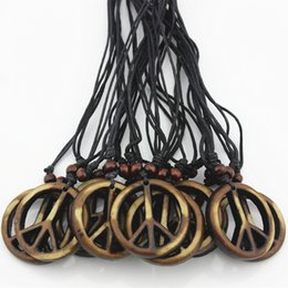 $enCountryForm.capitalKeyWord Canada - Wholesale lot 12pcs Tribal Yak Bone powder Carved Peace Sign Pendants Necklace Adjustable Wood Beads Rope MN111