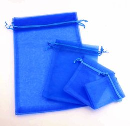 Chinese  100pcs 4sizes Royal Blue 7x9cm 9x11CM 13x18CM Organza Jewelry Gift Pouch Bags For Wedding favors,beads,jewelry Bag manufacturers