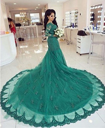 $enCountryForm.capitalKeyWord Canada - Arabic Emerald Green Lace Evening Dress Long Sleeves With Appliques Court Train Formales Abendkleid Mermaid Dubai Prom Dresses For Wedding