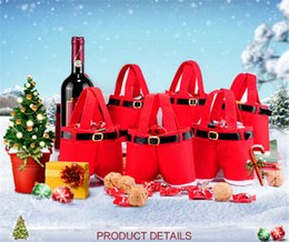 Best Gift For Xmas Australia - 200pcs best price red bag Xmas Bag For Children Santa pants style Christmas Decoration Christmas Wedding Candy Bags christmas gift D395