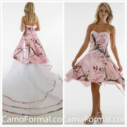 detachable court wedding dresses NZ - Knee Length Pink Realtree Wedding Dresses Lace up Camo Bridal Dresses 2016 Crystal Wedding Gowns with Tiers Tulle Detachable Court Train