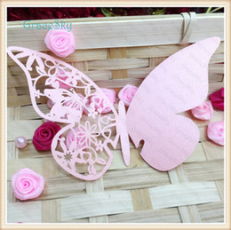 Card Laser Designs Canada - 60X Free Shipping laser cut Lace Butterfly with Flower Design Paper Wedding Party Decorations Laser Cutting Wine Glass Place Seat Name Cards