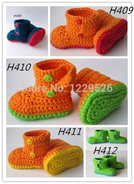 Knit Baby Fabric Canada - Baby Shoes Infants Crochet Knit Boots Toddler Snow Shoes Wintnewborns 2015 boys and girls 0-12M custom 16paris lot