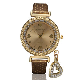 Color Watch Bands Canada - New Women Watch Polka Dot Leather Band Quartz Watch, Crystal Rhinestone Love Heart Pendant Watches relogio