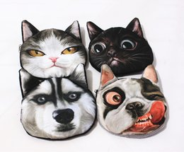 Dog Zipper Australia - Wholesale 3D girl wallet bag ladies face zipper mini cat coin purses dog children's purse plush bolsa de moeda coins pouch monedero gato