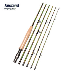 camouflage pole NZ - Fairiland 5 6# 9FT 2.7M 6 Sections Fly Fishing Rod Carbon IM7 Portable Fly Rod w  A-grade Cork Handle Camouflage Fly Pole