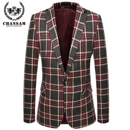 Veste Décontractée En Mode Uk Pas Cher-Vente en gros au Royaume-Uni Hommes élégant Blazer 2016 New Brand Casual Men Suit Jacket Un breasted Fashion Design Grille Costume Blazer Hommes